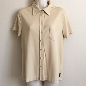 ARMANI EXCHANGE Women's Button Down Cream Blouse L